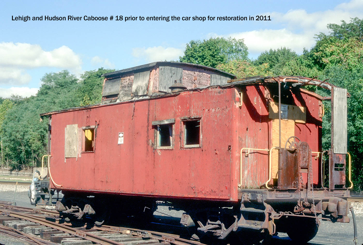 L&HR caboose #18 oruir to going into shop